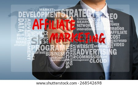 affiliate marketing concept handwritten by businessman with related words cloud