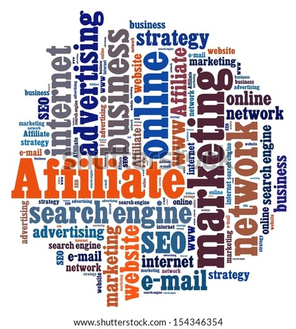 Affiliate marketing in word collage - stock photo