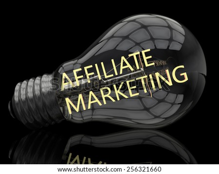 Affiliate Marketing - lightbulb on black background with text in it. 3d render illustration. - stock photo