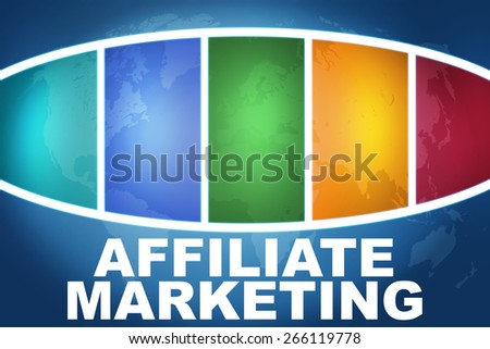 Affiliate Marketing text illustration concept on blue background with colorful world map - stock photo