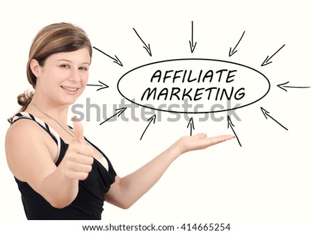 Affiliate Marketing - young businesswoman introduce process information concept. Isolated on white. - stock photo