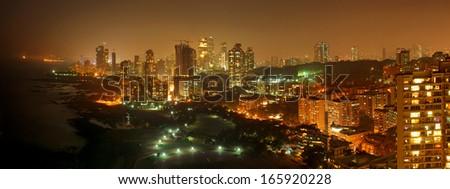 Affluent Napean Sea Road area of Mumbai at night - stock photo