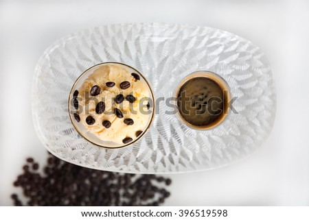 Affogato coffee,Ice cream with coffee and coffee beans - stock photo
