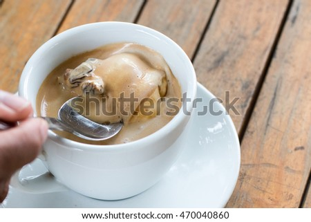Affogato coffee with ice cream on Table.