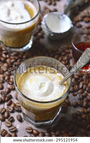 Affogato - traditional italian coffee dessert with ice cream and amaretto. - stock photo