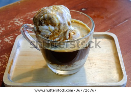 Affogato with Ice Cream and Coffee