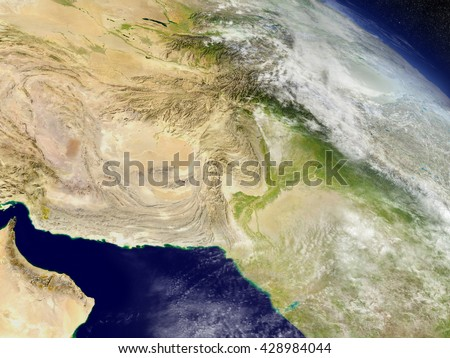 Afghanistan and Pakistan with surrounding region as seen from Earth's orbit in space. 3D illustration with detailed planet surface and clouds. Elements of this image furnished by NASA. - stock photo