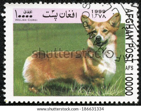 AFGHANISTAN - CIRCA 1999: A stamp printed in Afghanistan shows dog welsh corgi, series, circa 1999