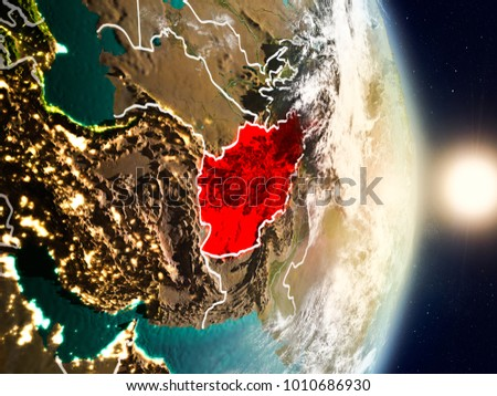 Afghanistan during sunrise highlighted red on stock illustration afghanistan during sunrise highlighted in red on planet earth with visible country borders 3d illustration gumiabroncs Image collections