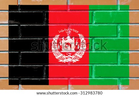 Afghanistan flag painted on old brick wall texture background - stock photo