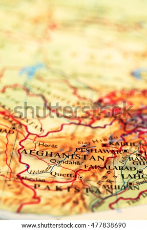 Afghanistan  on atlas world map