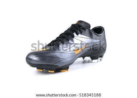 Afife, Portugal - November 2, 2016: Nike football boots. Nike, multinational company. Isolated on white. Product shots