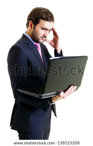 Afraid businessman using laptop, isolated on white - stock photo