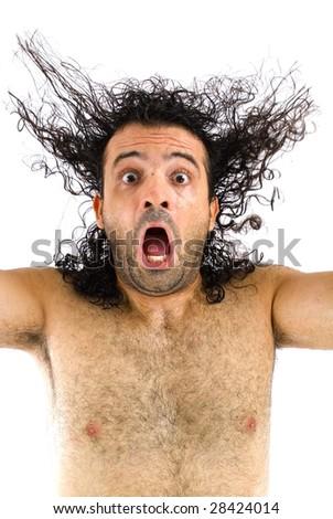 Afraid man screaming high - Studio Shot - stock photo