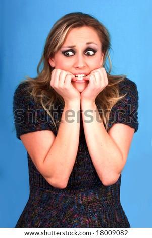 afraid woman - stock photo