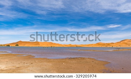 Africa, a lake in Erg Chebbi Dunes in Morocco, Sahara Desert. - stock photo