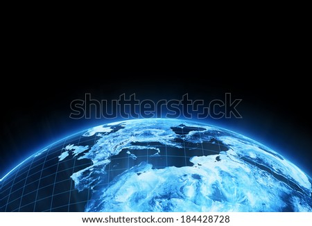 Africa and Europe globe view. Elements of this image furnished by NASA. - stock photo