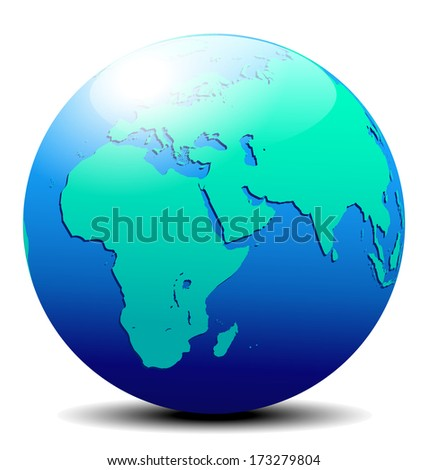 Africa, Arabia and India Globe World - The base map is from NASA and traced by hand using the pen tool and a tablet pen for maximum detail - Raster Version - stock photo