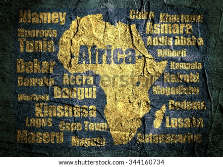Africa capitals names list around outline continent map. Image relative to traveling. - stock photo