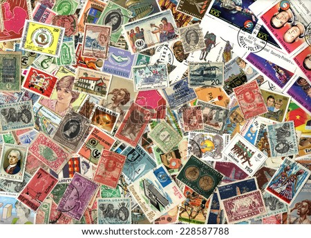 AFRICA - CIRCA 1920-2000: Background of the postage stamps issued in miscellaneous countries in Africa - stock photo