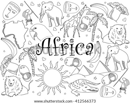 Africa coloring book line art design raster illustration. Separate objects. Hand drawn doodle design elements.