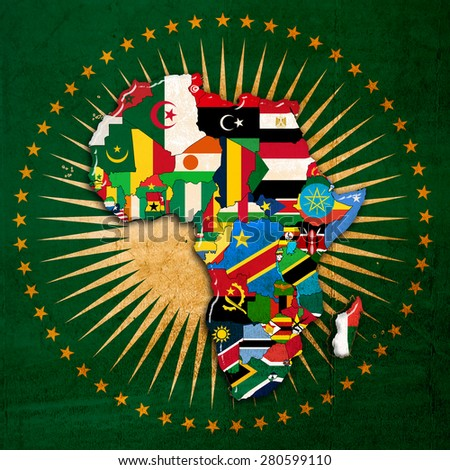 Africa,continent, flags, and map Africa background - stock photo
