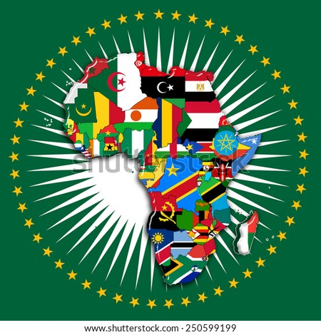 Amazing Africa,continent, Flags, Map And Africa Union Flag