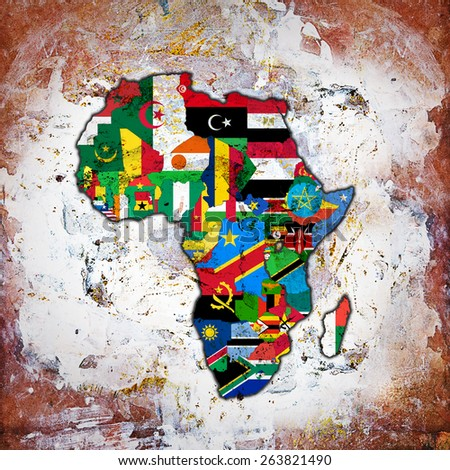 Africa,continent, flags, maps and wall background - stock photo