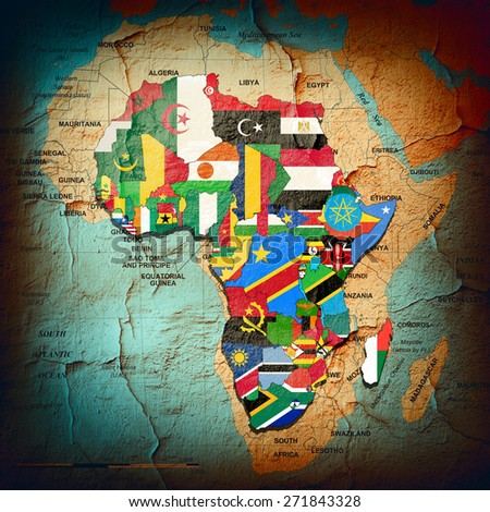 Africa,continent,flags, maps, and wall background - stock photo