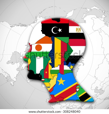 Africa,continent,human head, flags, map and world map background - stock photo