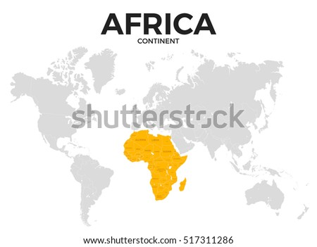 Lovely Africa Continent Location Modern Detailed Map. All World Countries Without  Names. Template Of Beautiful