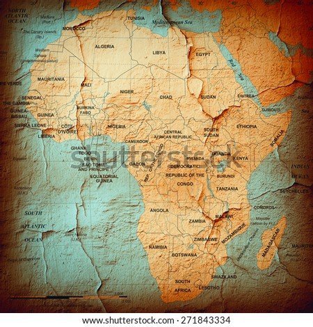 Africa,continent, map and wall background - stock photo