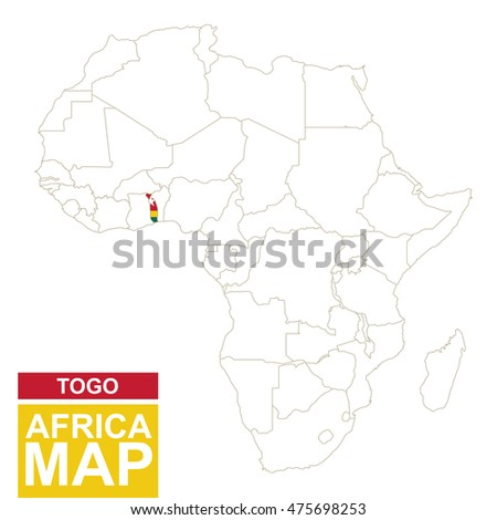 Africa contoured map highlighted togo togo stock illustration africa contoured map with highlighted togo togo map and flag on africa map raster gumiabroncs Image collections