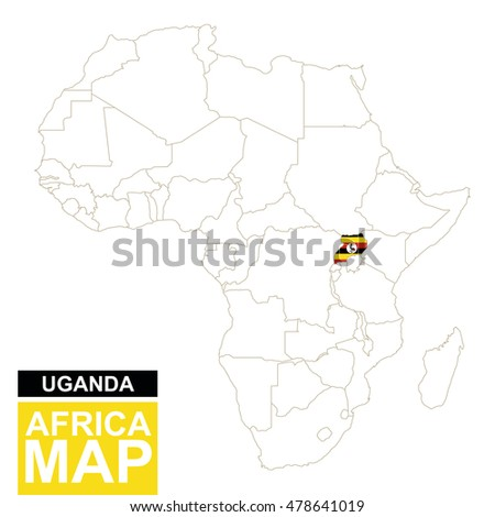 Africa Contoured Map Highlighted Uganda Uganda Stock Illustration