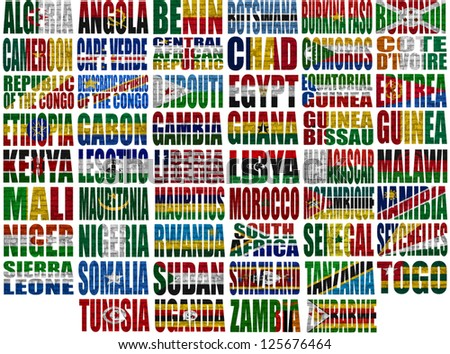 Africa countries flag words on a white background - stock photo