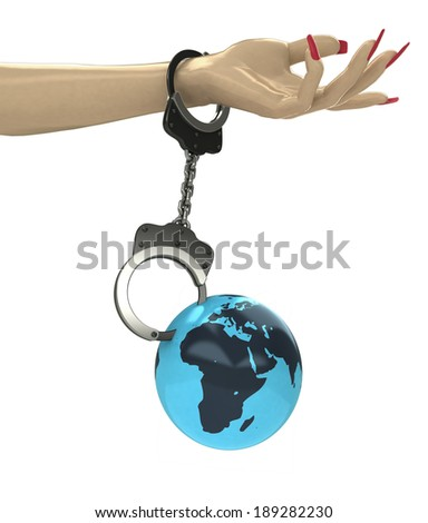 Africa earth globe attached with chain to human hand illustration - stock photo