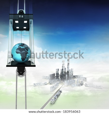 Africa earth globe in sky space elevator concept above city illustration