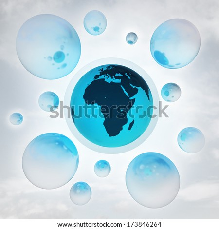 Africa earth globe with glossy bubbles in the air with flare illustration