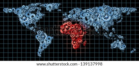 Africa economy and African economic activity as a business concept with a world map made of gears and cogs with Egypt Libya Nigeria Morocco highlighted in red as an idea of economic growth. - stock photo