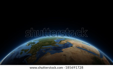 Africa, Europe and Saudi Arabia globe view. Elements of this image furnished by NASA. - stock photo