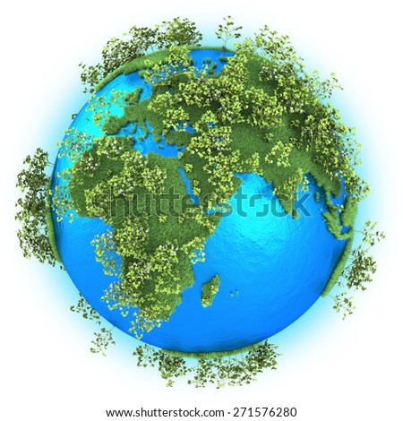 Africa, Europe and Western Asia on grassy planet Earth with cotton isolated on white background - stock photo