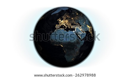 Africa/Europe Globe Isolated (Elements of this image furnished by NASA)