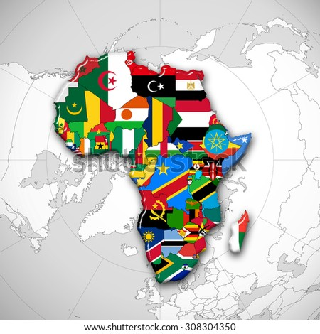 Africa flags,maps continent and world map background - stock photo