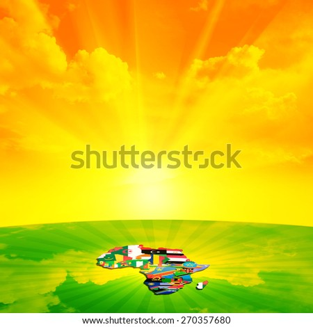 Africa flags,maps continent ,sky, sun with grass and clouds background - stock photo