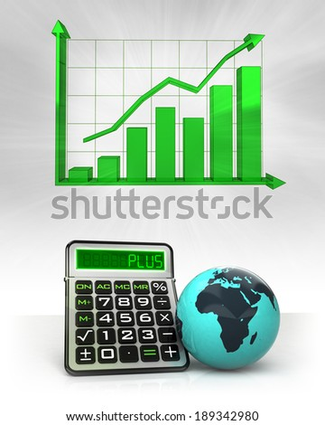 Africa globe with positive business calculations with graph illustration - stock photo