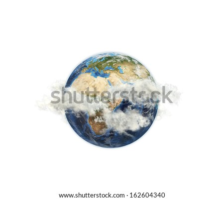 Africa in clouds. Elements of this image furnished by NASA - stock photo