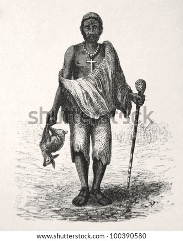 "Africa man of Batlapine tribe, drawn by J. Vanione in Emil Holub's ""Seven Years in South Africa"", published in Vienna, 1881"