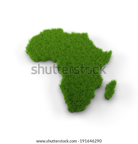 Africa map made of grass. High quality 3D illustration.  - stock photo