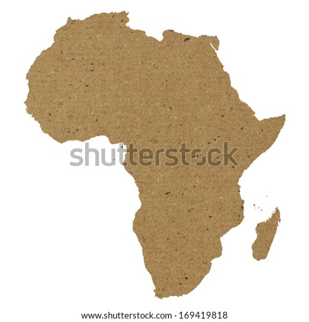 Africa map made of yellow paper or carton texture - stock photo