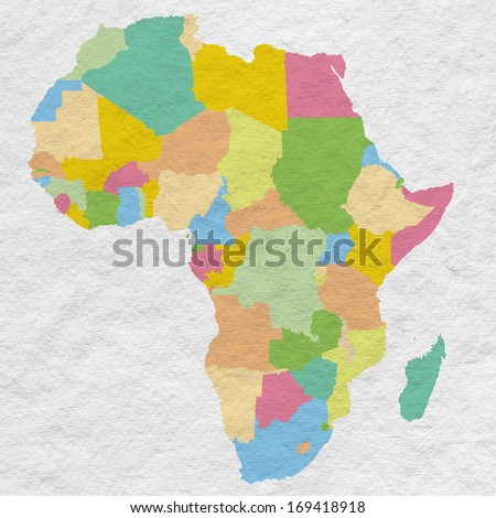 Africa map on white paper background